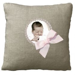Cushion with photo - Birth Gift - Linen