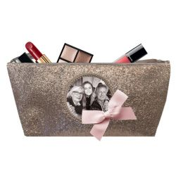 Shiny taupe Make-up bag