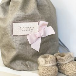 Baby girl personalized backpack - Shiny linen