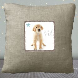 Kid Cushion Blue Puppy - Linen