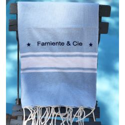 "Fouta - Personalized blue bath towel ""Farniente & Cie"""