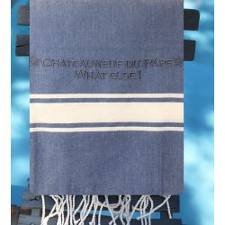"Fouta - Personalized blue bath towel ""Châteauneuf du Pape"""