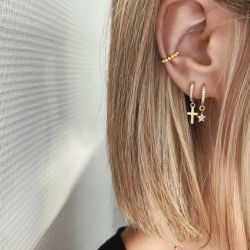 Mini Hoop Earrings Star Strass