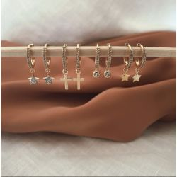 Mini Hoops Cross gold earring