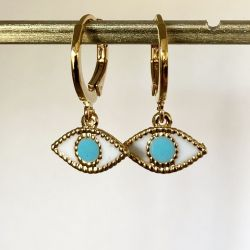 Turquoise eye gold earring