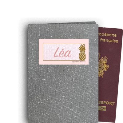 Gray glitter passport case personalized with a name