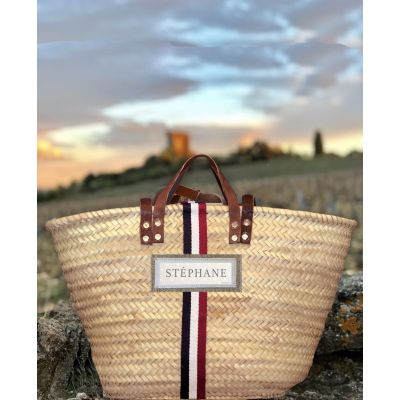 Basket Wicker - Basket of beach - Tricolore - to personalize with your name or text