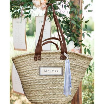 "Wicker basket - beach basket - original wedding gift ""Mr & Mrs / just married"""