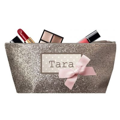 Personalized Kit - Personalized First Name Kit for Kids - Personalized Photo Gift - Makeup Bag - Taupe Sequin
