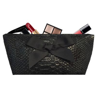 Personalized Kit - Personalized Kit with Bow - Makeup Bag -Black Tasma