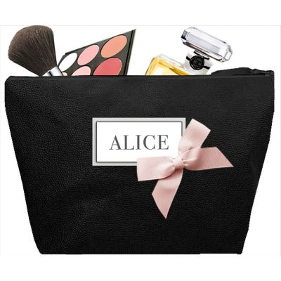 Women's toiletry bag - Personalized kit with first name or initials - Personalized gift - Saya Black