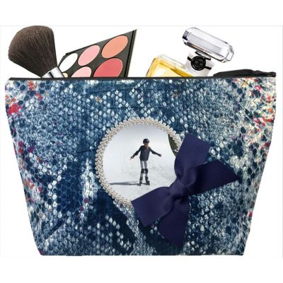 Women's toiletry bag - Personalized kit with your photo - Personalized gift - Blue Tasma