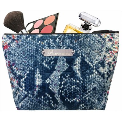 Women's Toiletry Bag - Personalized Kit with metal Plate - Original Women's Gift - Blue Tasma