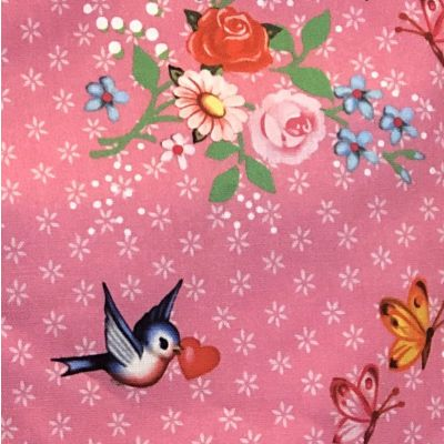 Pink cotton fabric with flower patterns, birds and butterflies