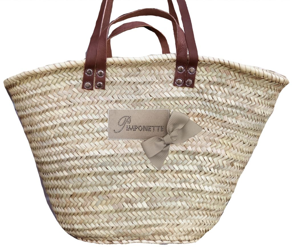 Wicker basket Pimponette with bow, leather handles worn on the shoulder