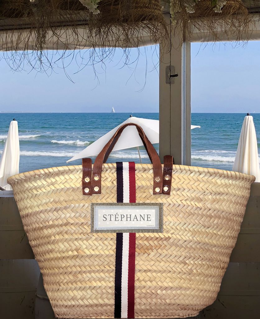 Basket Tricolore - Basket of beach for man & woman - Customized with your name