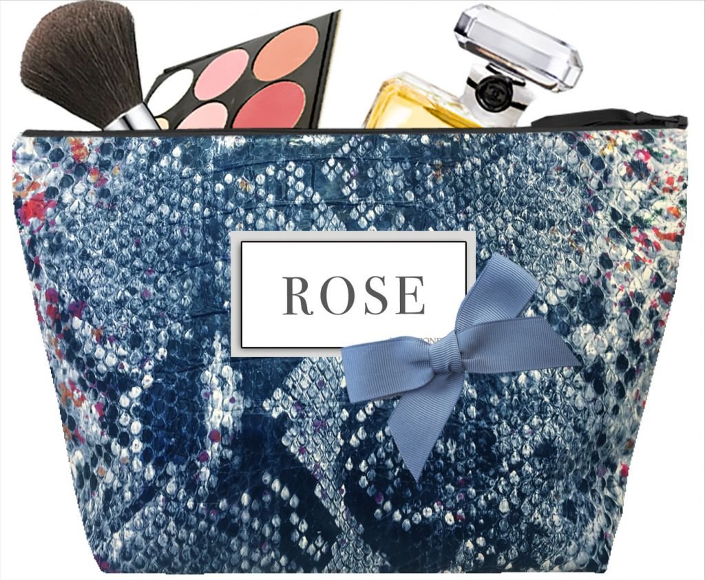 Women's toiletry bag - Personalized kit with first name or initials - Personalized gift - Blue Tasma