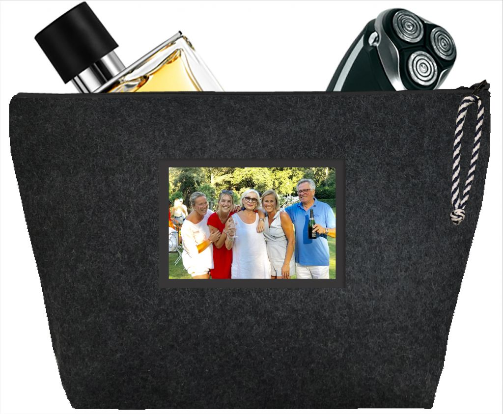 Men's toiletry bag - Personalized kit with your picture - Personalized gift - Flannel