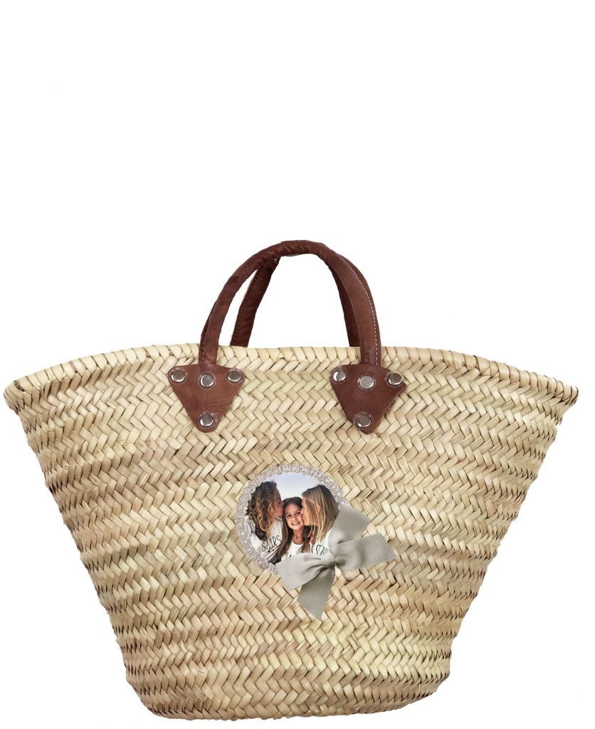 Wicker Basket - Shopping Basket - Champagne Bow
