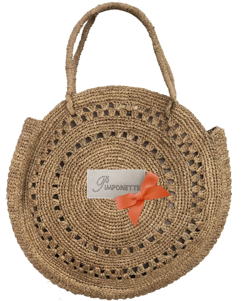 Round raffia bag - Round basket bag with orange bow