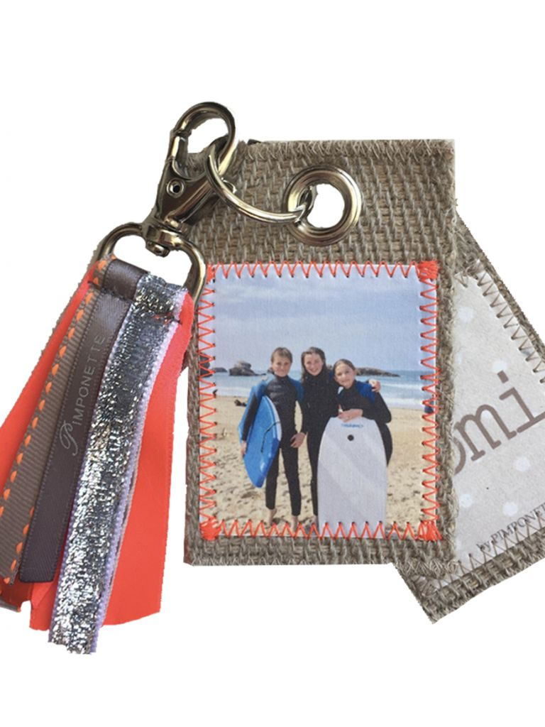 Photo keychain with ribbons - 2 pictures on 2 different sheets
